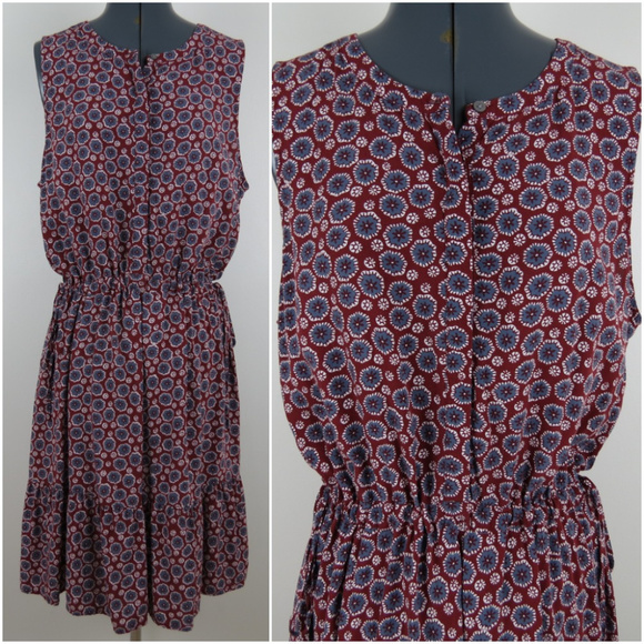 a97ef3ced5463 LOFT Dresses & Skirts - LOFT | Burgundy Floral Rayon Tiered Dress A5
